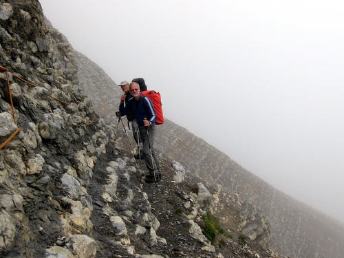 Photograph of Traversing round the nose of Dent de Crolles returning from the Grotte Annette
