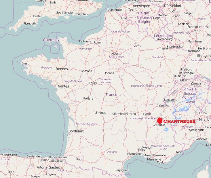 Map Of France Showing Lille.Chartreuse Location Map