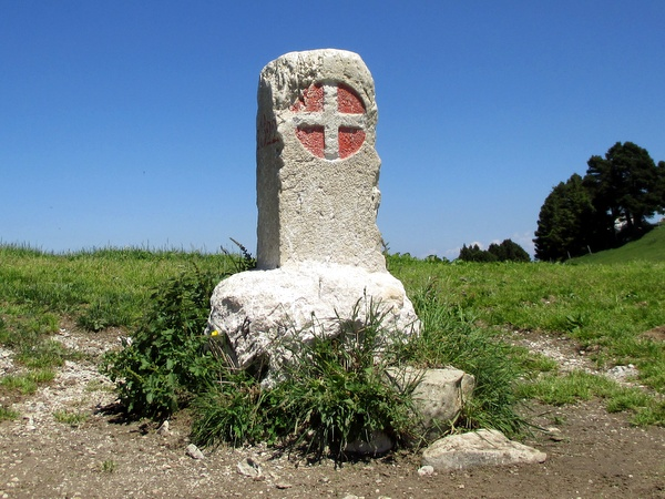 Photograph of an 1822 boundary stone between the Kingdom of Sardinia's Savoy territory and France on Col de l'Alpe