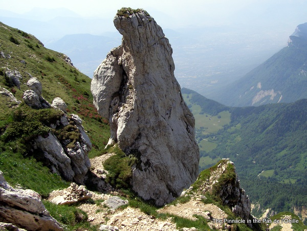 Photograph of the pinnacle at the top of the Pas de l'Œille, Dent de Crolles