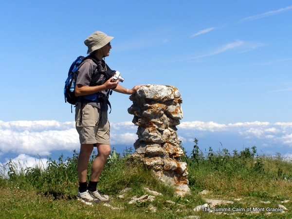 Photograph of the summit cairn on Mont Granier