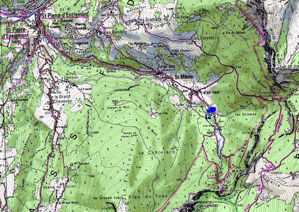 Map showing start of walks from Cirque de St. Même (Map: IGN 1:25,000 3333 OT)