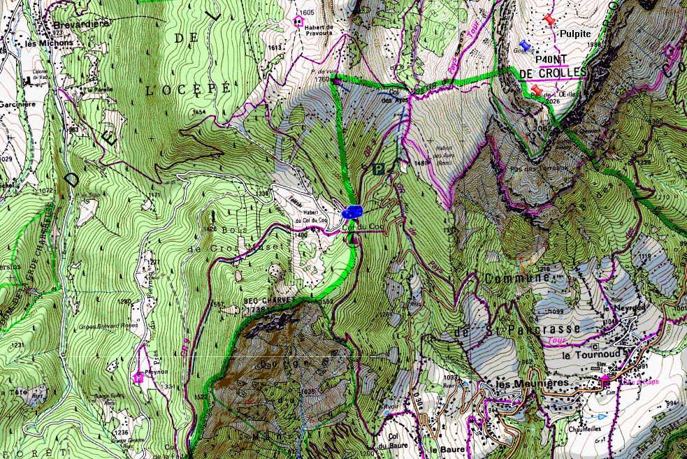Map showing start of walks from Col du Cog (Map: IGN 1:25,000 3334 OT)