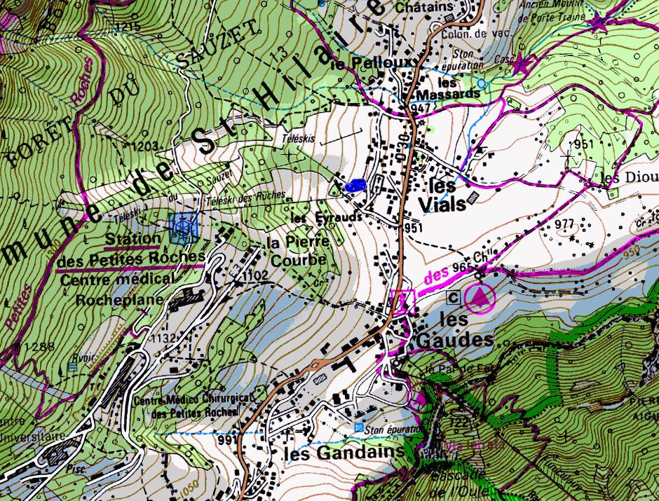 Map showing start of walks from Bellecombe (Map: IGN 1:25,000 3334 OT)