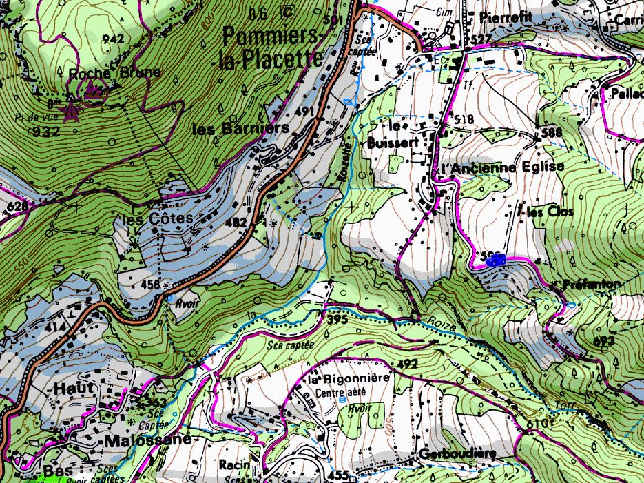 Map showing start of walks from Préfenton (Map: IGN 1:25,000 3334 OT)