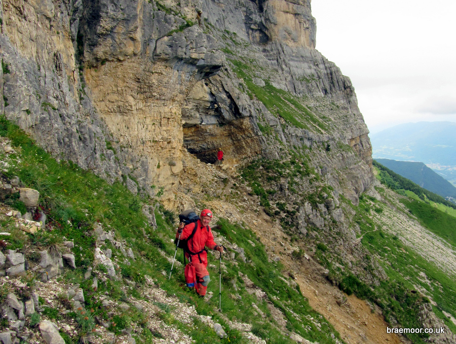 The entrance to Grotte Chevalier from the traverse to Grotte Annette Bouchacourt. The level of the access path can be seen below. Photograph: Dave Checkley