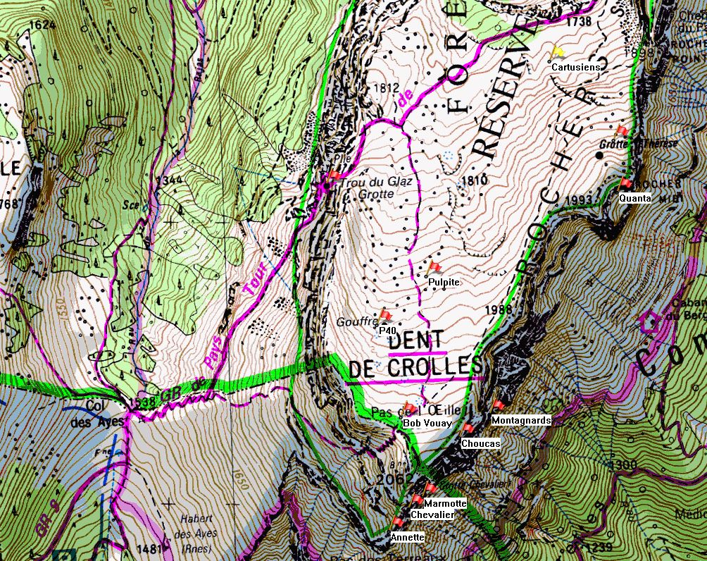 Map of Dent de Crolles showing location of Puits des Cartusiens on the IGN 1:25000 map 3334OT.