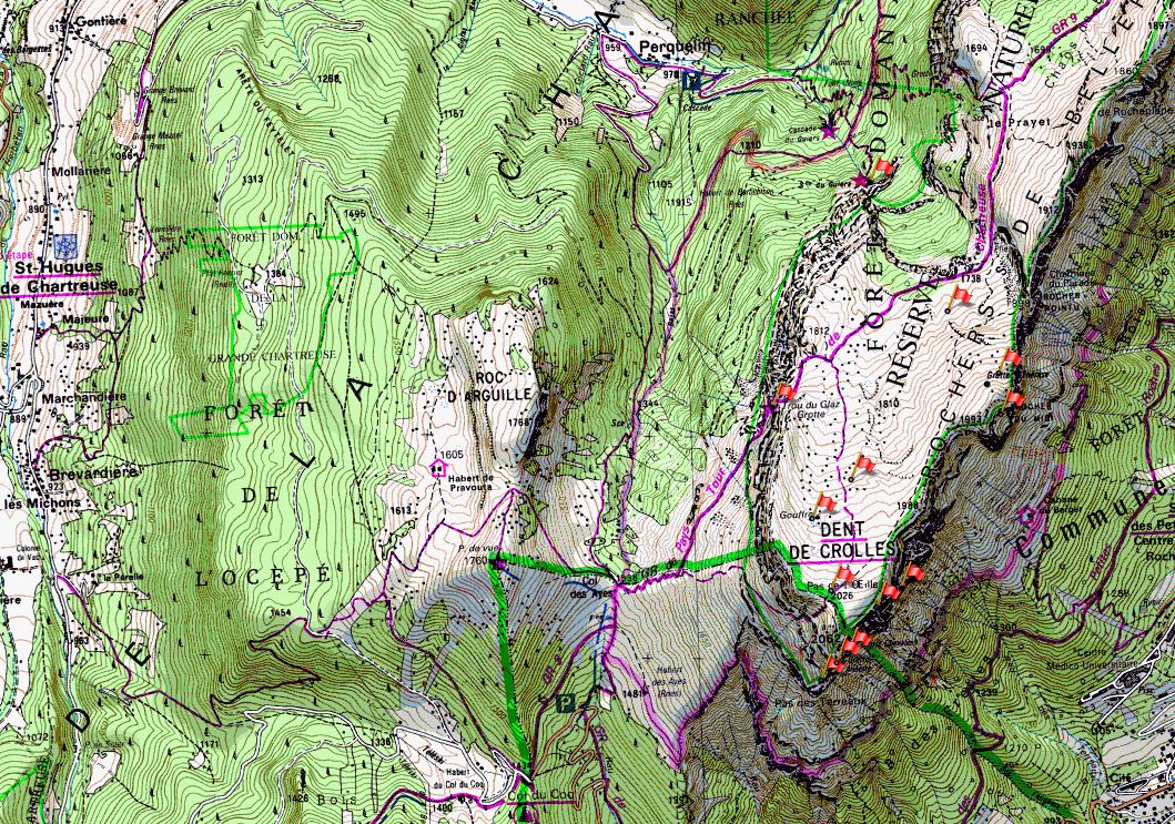 Map of the Dent de Crolles area on the IGN 1:25000 map 3334OT