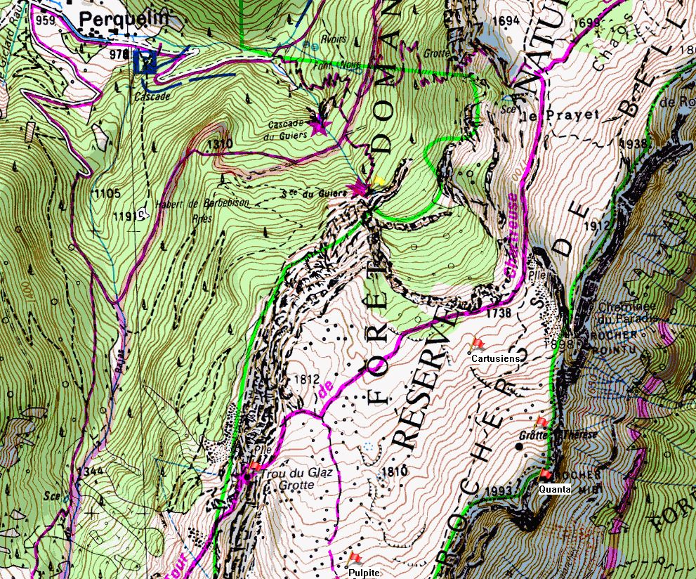 Map of Dent de Crolles showing the location of Grotte du Guiers Mort on the IGN 1:25000 map 3334OT.