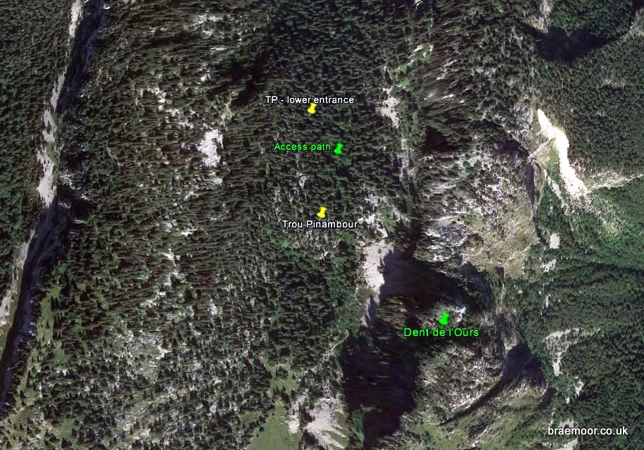 Showing location of the Trou Pinambour entrances on Google Earth.