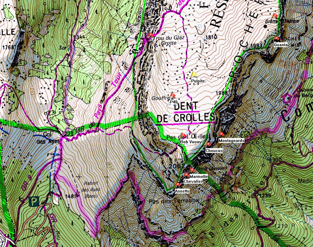 Map of Dent de Crolles showing position of Gouffre de la Pulpite Irréversible on the IGN 1:25000 map 3334OT.