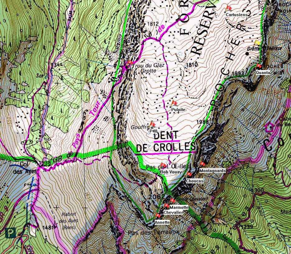 Map of Dent de Crolles showing position of Gouffre Thérèse on the IGN 1:25000 map 3334OT.