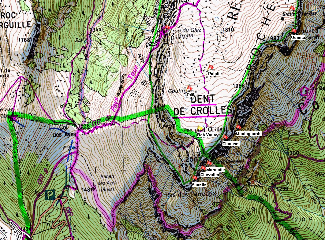 Map of Dent de Crolles showing position of Gouffre Bob Vouay on the IGN 1:25000 map 3334OT.